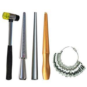 フェリモア リング棒 リングゲージ ハンマー 指輪 サイズ調整 サイズ計測 ハンドメイド 5点セット|ybd