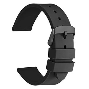 [WOCCI]時計バンド シリコンラバー 18mm 防水時計替えベルト スポーティ ゴム腕時計ベルト 黒/ブラックバックル|ybd