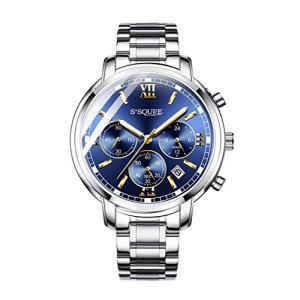 BesTn 腕時計 メンズ 防水 ステンレス カジュアル 多機能 クロノグラフ ウォッチ ビジネスマン 青い文字盤 仕事|ybd