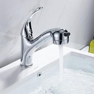 Littlegrassjp 洗面用水栓 洗面混合水栓 洗面台蛇口 キッチン用水栓 台付き(1穴) ハンドシャワー キッチンや洗面両|ybd