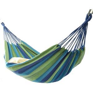 ハンモック2人用 ベッド部:長さ 約200160cm/全長:約320cm ブルー系マルチカラーストライプ (ブルー系) ybd
