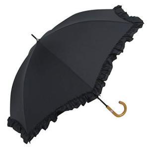 軽い日傘 UVカットの晴雨兼用 紫外線遮蔽率90% 以上 2重フリル 手開き傘 (黒)|ybd