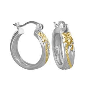 Hawaiian Silver Jewelry ハワイアンスクロール フープピアス イエローゴールド トーン シルバー925 ハワイアン シルバ|ybd