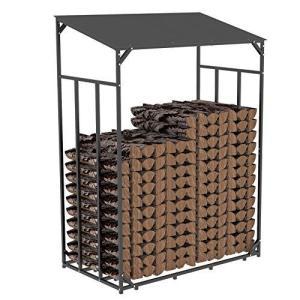 薪棚 屋根付き 薪置き ログラック 屋外 ログホルダー 薪小屋 薪の保管 幅120cm|ybd
