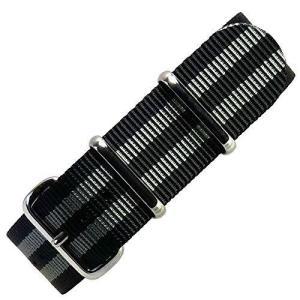 [time] 20mm NATO G10 バリスティックナイロンストラップ 腕時計ベルト ミリタリーバンド ボンド(ブラック&グレー)/|ybd