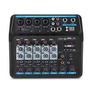 XTUGA AM4/AM6ミニミキサーオーディオDJコンソール、サウンドカード、Bluetooth、USB、PC録音のための48Vファンタム電|ybd
