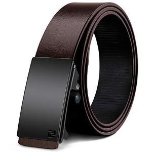 ベルト メンズ 本革 ブラック ブラウン オートロック式バックル レザーMHOMER 穴なしカジュアル 尾見えないベル|ybd