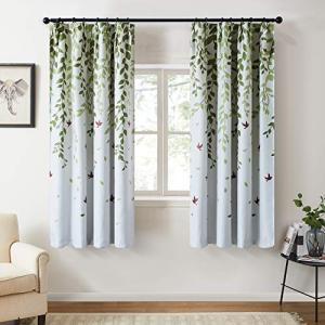 Topfinel カーテン 北欧 青いの葉 可愛い お洒落 幅100x丈135cm 2枚組 遮光 防寒 UVカット 腰窓用 出窓用 掃き出し窓|ybd