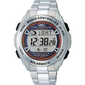 [シチズン Q&Q] 腕時計 デジタル 電波 ソーラー 防水 日付 メタルバンド MHS7-200 メンズ シルバー|ybd