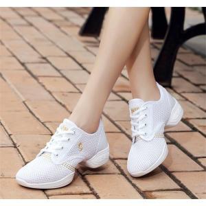 チアリーディング レディースダンスシューズ 女性靴 通気性 ジャズダンススニーカー 4colors 小さいサイズ 大きいサイズ