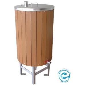 AB200EWL カネソウ(KANESO) 雨ボトル リサイクルウッドタイプ ステンレス製 雨水貯水タンク (鍵付タイプ)|ydirect
