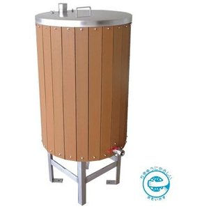 AB500EWL カネソウ(KANESO) 雨ボトル リサイクルウッドタイプ ステンレス製 雨水貯水タンク (鍵付タイプ)|ydirect