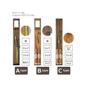 4976458049136  森村金属 eBOARD(イーボード) Atype 鏡+トレイ+フック+傘立てタイプ ライトブラウン|ydirect