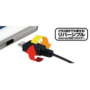 カシムラ DC充電器 2.4A リバーシブル microUSB ブラック/ブルー AJ-504|yellowhat|02