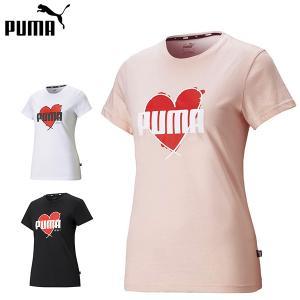 プーマ puma レディース 半袖Tシャツ HEART Tシャツ ロゴTシャツ グラフィックTシャツ コットン100% 綿100% 快適 女性 588743 メール便も対応 yf-ing