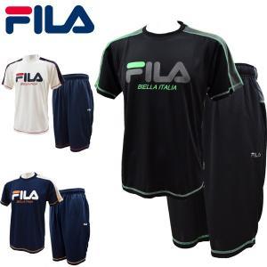 フィラ fila 半袖Tスーツ メンズ Tシャツ ハーフパンツ  サマーセットアップ上下 夏 吸水速乾 ドライ 部屋着 FM5156 レターパックも対応 yf-ing