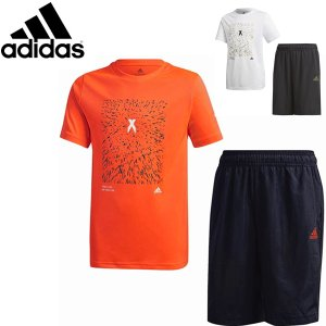 アディダス adidas ジュニア Tシャツ&ハーフパンツ上下 サマーセットアップ ショートパンツ 子供 IWX37 メール便も対応|yf-ing