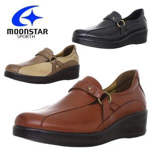 moonstar/ムーンスター SPORTH/スポルス 婦人靴 国産 本革 革靴 コンフォートシューズ スリッポン 3E 軽量設計 撥水加工 SP7733 あすつく対応_北海道 BOS|yf-ing