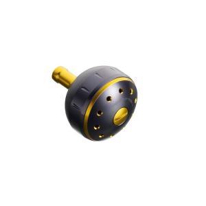 シマノ 夢屋アルミラウンド型パワーハンドルノブ ブラック/ゴールド M ノブ TypeB用|yfto