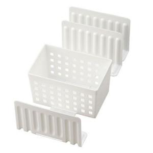 仕切り 収納 スライドできる!冷凍庫スタンド STK-01 (ボックス1個・仕切り3枚) ホワイト