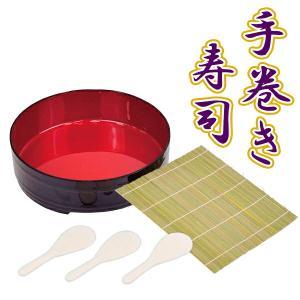 すしパーティ 漆器手巻き・ちらし寿司 5点セット D-483 ( 飯台 しゃもじ 巻きす )|yh-beans