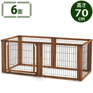 ■インテリアになじむ木製 ゆったりスペースが作れる6面タイプ 必要に応じてサークル・ゲート・仕切りの...