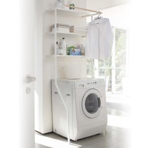 洗濯機 ラック 立て掛けランドリーシェルフ タワー ホワイト yh-beans