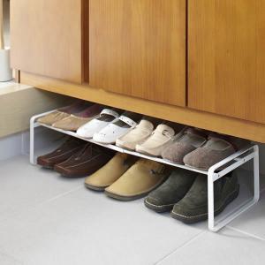 山崎実業 靴 収納 伸縮シューズラック フレーム ホワイトの写真
