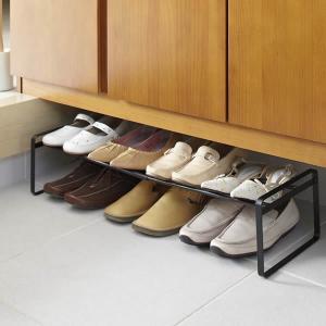 山崎実業 靴 収納 伸縮シューズラック フレーム ブラック