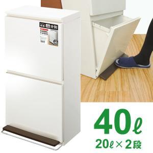 ゴミ箱 ペダル 分別 ダストボックス 2段 ワイド 40L ホワイト|yh-beans