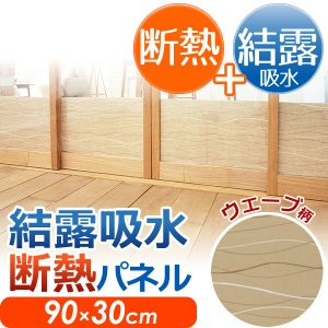 結露 吸水 断熱パネル ウェーブ柄 90×30cm ( 断熱 結露対策グッズ )