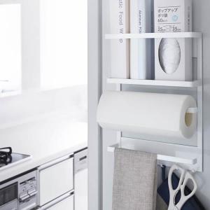 マグネット冷蔵庫サイドラック タワー ホワイト ( キッチン小物収納 ラップホルダー )の写真