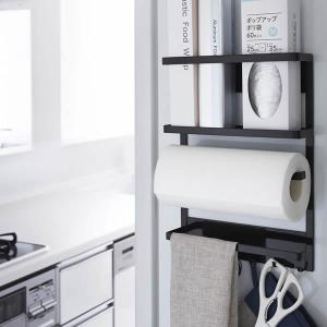 山崎実業 マグネット冷蔵庫サイドラック タワー ブラック ( キッチン小物収納 ラップホルダー )