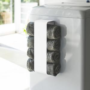 ■磁石で簡単取り付け。 バスタオルを丸めて挟むだけで、洗濯機の側面などにタオル収納ができる。 磁石で...