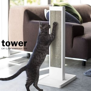 山崎実業 爪とぎケース タワー 猫の爪とぎスタンド ホワイト 4212|びーんず生活雑貨デポ