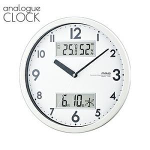 【送料無料】ダブルメジャー W-631 WH【 時計 掛け時計 温度計 湿度計 カレンダー 連続秒針 音がしない 】LF656B02b000|yh-life-inc