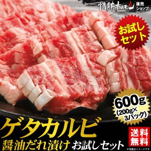 焼肉セット 肉 バーベキューセット ゲタカルビ醤油だれ漬けお試しセット 600g 送料無料 BBQ 焼き肉|yhjonetsu