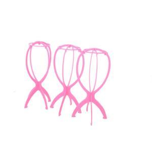 送料無料 ウィッグスタンド かつら台 組み立て式 3個セット ピンク