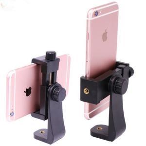 1/4カメラネジ搭載の一脚/三脚/自撮り/延長ポール棒等に取付けられる汎用式のスマホスタンドです。簡...