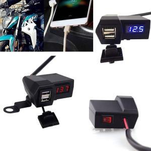 送料無料 オートバイ GPS携帯電話 USB電源ソケット充電器+電圧計 3.1A USB2ポート G...