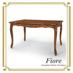 ダイニングテーブル おしゃれ 木製 4人 アンティーク調 白 135cm Fiore(フィオーレ) 開梱設置付き