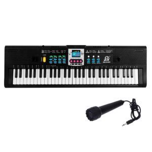 61鍵盤 ミニマイク付き エレクトロキーボード 多機能 16トーン 10リズム 電子ピアノ 電子キーボード 子供 玩具 おもちゃ(送料別商品)|yleciel