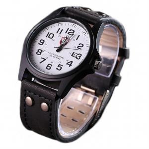 腕時計 時計 メンズ アナログクォーツウォッチ #05 ホワイト文字盤/ブラックレザーストラップ  カジュアル ミリタリー(定形外郵便、代引不可、送料別商品)|yleciel