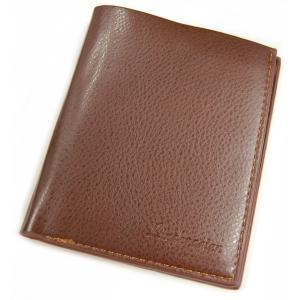 メンズ 二つ折り財布 縦型 ブラウン レザー調 財布 カード入れ カード収納 札入れ 定期入れ シンプル ビジネス(定形外郵便、代引不可、送料別商品)|yleciel