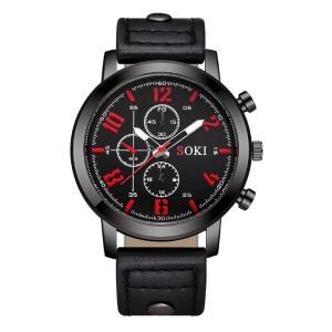 メンズ アナログクォーツウォッチ S1037 《ブラックベゼル ブラックレザーストラップ》 腕時計 おしゃれ シンプル(定形外郵便、代引不可、送料別商品)|yleciel