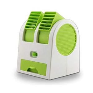 小型 ダブルクーラーファン 《グリーン》 冷却ファン USB式 卓上クーラー 給電式 携帯 扇風機 冷風機 (送料別商品)|yleciel