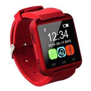 スマートウォッチDX 《レッド》 Bluetooth 腕時計 ハンズフリー タッチパネル 歩数計 ストップウォッチ(定形外郵便、代引不可、送料別商品)