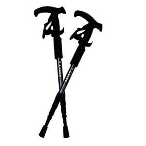 T型グリップ トレッキングポール 2本セット 《ブラック》 トレッキングステッキ トレッキングストック(送料別商品)|yleciel