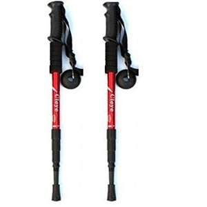 I型グリップ トレッキングポール 2本セット 《レッド》 登山 杖 ストック トレッキングステッキ(送料別商品)|yleciel