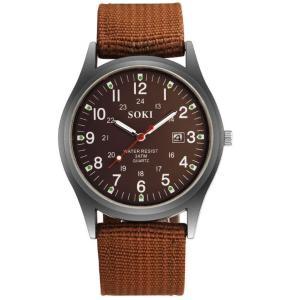 メンズアナログクォーツウォッチ ナイロンベルト 《ブラウン》 腕時計 メンズ時計 ミリタリー(定形外郵便、代引不可、送料別商品)|yleciel
